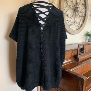 NWT MUDD Size XL 1X Black Lace Up Back Sweater